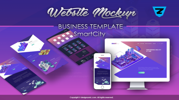 Website Mockup Template - Business Website - SmartCity - PSD Template