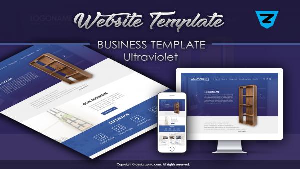 Website Mockup Template - Business Website - UltraViolet - PSD Template