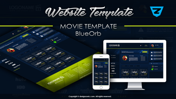 Website Mockup Template - Movie Website - BlueOrb - PSD Template